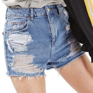 Topshop Distressed Mom Jean Shorts